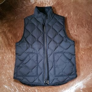 Black Quilted Down J. Crew Vest